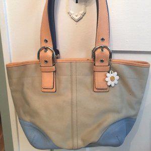 COACH canvas/leather handbag tote beige/blue